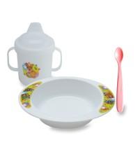 Lusty Bunny Tempat makan Bayi Feeding Set 4in1 Peralatan makan Bayi - Putih