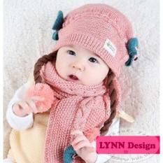 Lynn Design- Korean Topi rajut pom pom rambut palsu anak bayi