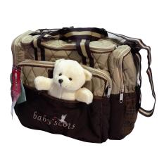 Beli Lynx Candy Tas Bayi Baby Scots Scots Embroidery Diaper Bag Cokelat Terbaru