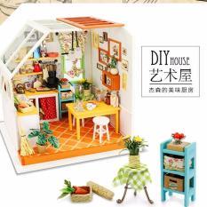 Lynx DIY Kitchen Set House Miniatur Model Home Decor With LED Furniture