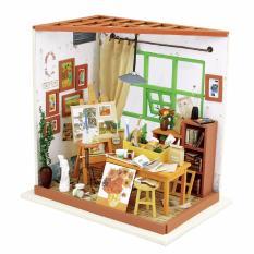Lynx DIY Miniatur Miniature House Set Model Home Decor With LED Furniture - Paint Dollhouse Kits