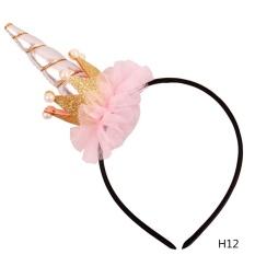 Magical Unicorn Horn Bunga Headband Fancy Gaun Anak Pesta Hadiah Ulang Tahun H12-Intl By Linfang Store.