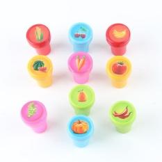MagicWorldMall Novelty Funny Toys 10Pcs/Set Stamps Kids Children Toys Animals Fruit Recognition Training New