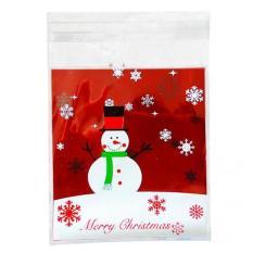 MagiDeal 100 Xmas Snowman Bakery Kue Permen Gift Soap Favor Cello Perekat OPP Casing-Intl