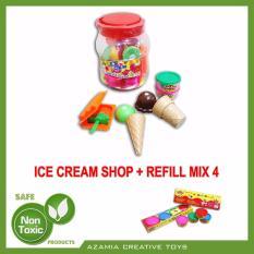 MAINAN ANAK EDUKASI FUN DOH ICE CREAM SHOP (Bundle With REFILL FUN DOH MIX 4)