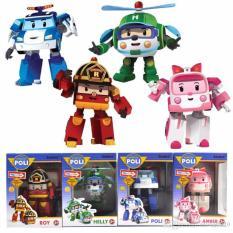 Lynn Design - Mainan Anak Poli Robocar (4 pcs) 1 Set Transformer Mobil Robot