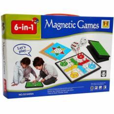 MAINAN EDUKASI PAPAN MAGNETIC BOARD GAME 6 in 1 ludo halma reversi