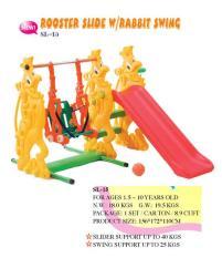 Mainan Edukatif Anak Perosotan Rooster Slide With Rabbit Swing Ching Ching SL 15