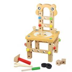 Mainan Kayu Kid Berpura-pura Bermain Meja Kerja Kotak Alat Carpenter Bermain Pendidikan DIY Merakit Mainan Disassembly Emulational Kursi -INTL