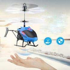 Mainan Pesawat Helikopter Terbang Drone Mainan Anak Sensor Tangan - Biru