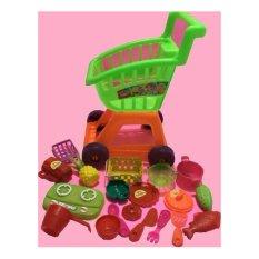 Mainan Trolley Trolli Troli Supermarket Minimarket dan peralatan masak serta buah / kitchen set