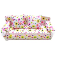 Mini Miniature Furniture Flower Print Sofa Couch with 2 Cushions for Barbie Doll Toy - intl