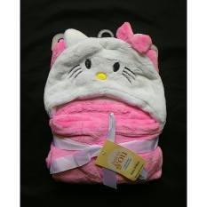 Spesifikasi Mombaby Selimut Topi Double Fleece Selimut Hoodie 3D Hoodie Blanket Tudung Selimut Topi Animal Helo Kitti Putih Yang Bagus
