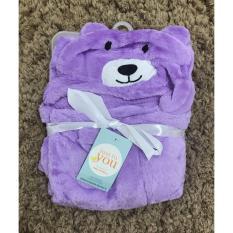 Harga Mombaby Selimut Topi Double Fleece Selimut Hoodie 3D Hoodie Blanket Tudung Selimut Topi Animal Beruang Ungu Yang Bagus