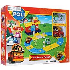 MOMO Toys Robocar Poli City Rescue Playset XZ-194 39Pcs - Mainan Track