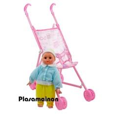 MOMO Toys Stroller Plus Boneka Roda 4  - Mainan Stroller Boneka Anak