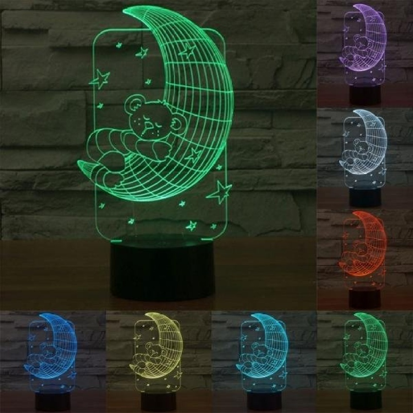 Beruang Bulan Gaya Pengisian USB 7 Warna Perubahan Warna CreativeVisual Stereo Lampu 3D Touch Switch Control LED Light Desk LampNight Light. Ukuran Produk: 14.1X22.7X8.7 Cm-Intl