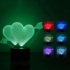 Moonar Kreatif 3D Lampu Ilusi LED Night Light Arrow ThroughHeartAcrylic Colorful Mengubah Perubahan Warna Lampu-Intl