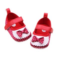 Review Moonar Newborn Baby G*Rl Dots Bow Soft Crib Shoes Toddler Velcro Walk Shoes Red Di Indonesia