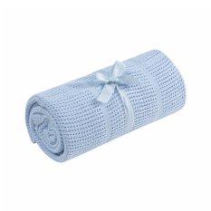 Mothercare Crib Moses Basket Cellular Cotton Blanket - Blue 2bb311875e