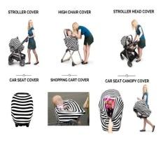 Multi-use Baby Car Seat Canopy Meliputi Cotton Nursing Breastfeeding Syal Bayi Cradle Sun Shade-Keranjang Belanja Tinggi Kursi Stroller Carseat Meliputi Selendang Bayi Shower Hadiah (Abu-abu/Garis Putih) -Intl