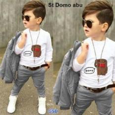 NCR- Setelan Baju Anak Laki-laki - Set 3in1 Abu