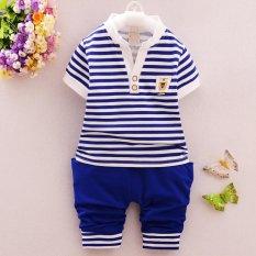 Spesifikasi Baru Dan Fashion 4 Tahun Bayi Laki Laki Summer Striped Pakaian Set Intl Lengkap