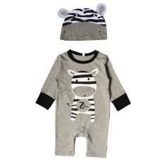 Baru Fashion Kartun Panjang Lengan Bayi Jumper dengan Hat-Zebra