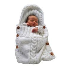 Baru Bayi Baru Lahir Bayi Knit Crochet Swaddle Wrap Swaddling Selimut Sleeping Bag-Intl