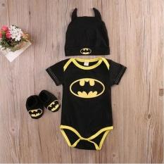 Newborn Baby Boy Batman Lengan Bang Pendek Baju Monyet Bodysuit + Sepatu + Topi Pakaian 3 Pcs Pakaian Set 0- 24 M