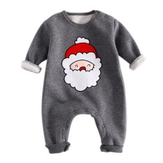Baru Lahir Bayi Natal Satu Potong Kapas Garment Rompers Jumpsuit Baby Suit Kostum Seperti Foto Props Warna: Grey Santa Claus Lengh: 66 Cm-Intl