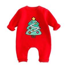Baru Lahir Bayi Natal Satu Potong Kapas Garment Rompers Jumpsuit Baby Suit Kostum Seperti Foto Props Warna: Red Pine Panjang: 80 Cm-Intl