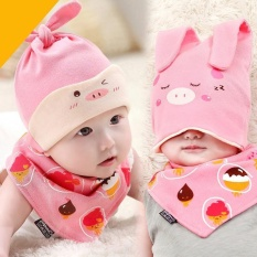 Newborn Baby Infant Boys Girls Sleep Hat Cap+Saliva Towel Triangle Head Scarf Set Pink - intl