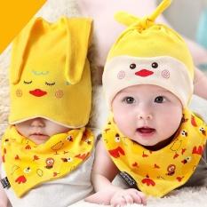 Bayi Baru Lahir Bayi Boys Girls Sleep Hat Cap + Handuk Air Liur Segitiga Jilbab Set Kuning-Intl