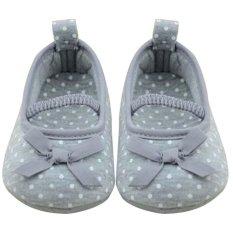 Bayi Yang Baru Lahir Prewalker Sepatu Butterfly Bunga Sepatu (Grey)-Intl