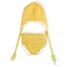 Newborn Costume Czapki DLA Dzieci Bayi Aksesoris Fotografi Star Printed Musim Dingin Hangat Crochet Merajut Hat Bonnet Bébé FILLE Helm Keselamatan untuk Bayi 2017 Baru (Kuning) -Intl