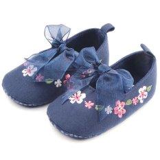 Bayi Kapas Sepatu Navy Kupu Kupu-kupu Leisure Bersulam Sepatu Lembut Nyaman Bernapas Sepatu-Intl