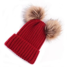 Toko Jual Newborn Cute Fashion Keep Warm Winter Hats Knitted Wool Hemming Hat Intl