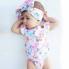 Jual Bayi Cute Ruffles Floral Bodysuits Headband Floral Anak Perempuan Bayi Backless Jumpsuit One Piece Sunsuit Headband Pakaian Set Pink Intl Oem Branded