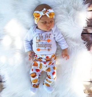 Harga preferensial Bayi Yang Baru Lahir Baby Girl Huruf Baju Monyet Tops +  Celana 4 Pcs Thanksgiving Pakaian Set-Intl beli sekarang - Hanya Rp92.110 1a8bc34c4f