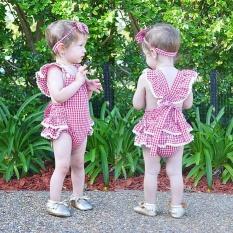 Bayi Baru Lahir Bayi Perempuan Pakaian Plaids Cek Romper Jumpsuit Bodysuit Pakaian-Intl