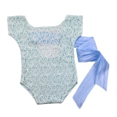 Review Newborn Infant Baby Girls Photography Props Lace Bow Romper Princess Clothes Intl