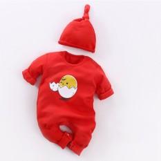 Bayi Yang Baru Lahir Kapas Bayi Berkualitas Telur Ayam Satu Potong dengan Hat Pakaian Bodysuits Rompers Lengan Panjang Pakaian Jumpsuit- INTL
