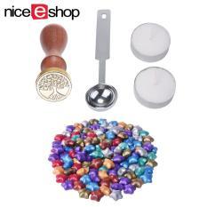 niceEshop 100 Ps Eropa bentuk bintang Retro Sealing lilin dengan 1 Piece lilin mencair sendok, 1 Piece Sealing lilin Stamp dan 2 buah lilin