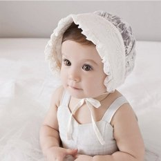 Haotom Nordic Gaya Vintage Yang Bayi Perempuan Beanie Topi Renda Topi Bayi Princess Bayi Matahari Musim Panas Kap Mesin Cap Bunga Kuning Bunga