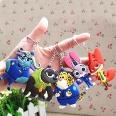 Kebaruan Zootopia Boneka untuk Anak Perempuan Nick dan Judy Sloth Mainan untuk Anak-anak dengan Kunci Lingkaran Kunci Liontin untuk Tas kunci Lucu Toys 7.5 CM-Internasional