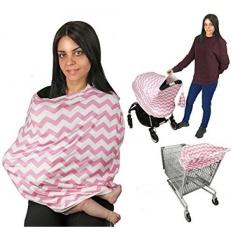 Nursing Breastfeeding Syal EZ Creations, Multi USE-Kanopi Stroller, Car Seat, Keranjang Belanja, Swaddle, Hi-Kursi. Lembut Breathable Dicuci Bayi Laki-laki atau Perempuan (Pink Chevron)-Intl