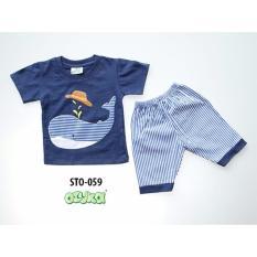Ozuka setelan baju anak whale biru
