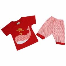 Ozuka Stelan Pakaian Anak Baju Celana Pendek Paus Garis Merah - SKP563