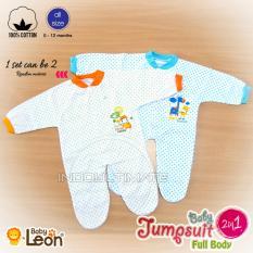 Baju Bayi 2pcs BABY LEON 100% Katun BC-02 White Random MOTIF Jumsuit Kaki Tutup / Pakaian Bayi / Baju bayi perempuan laki laki / Baju bayi set NEW BORN / Baju Tidur anak / Baju tidur bayi / perlengkapan bayi